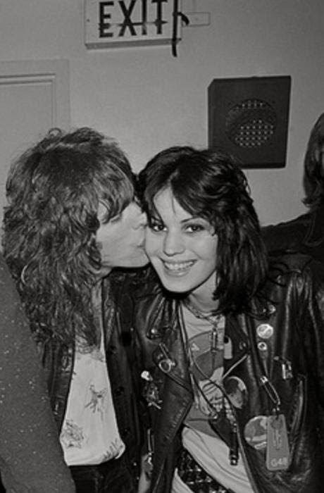 Tom Petersson of Cheap Trick & Joan Jett after the show (4-1-1977, Santa Monica Civic Center)