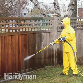 How to Renew Wooden Fences: Shabby to handsome in 3 easy steps! http://www.familyhandyman.com/garden-structures/fences/how-to-renew-wooden-fences/view-all