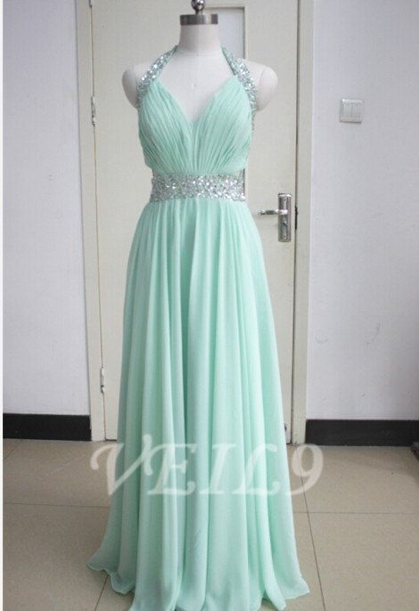 New Chiffon Halter bridesmaid Tiffany Blue prom dress by VEIL9