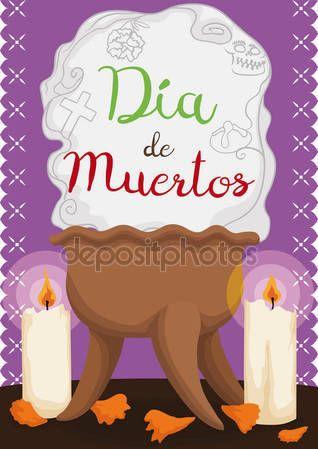 """Traditional Copal's Censer, Candles and Petals for """"Dia de Muertos"""""""