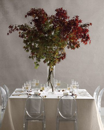 What a great centerpiece idea! Tree branches in a tall vase leave lots of room on the table for a family-style dinner: Branches Centerpieces, Idea, Japanese Maple Trees, Trees Wedding Centerpieces, Trees Branches, Martha Stewart, Names Cards, Leaves, Trees Centerpieces