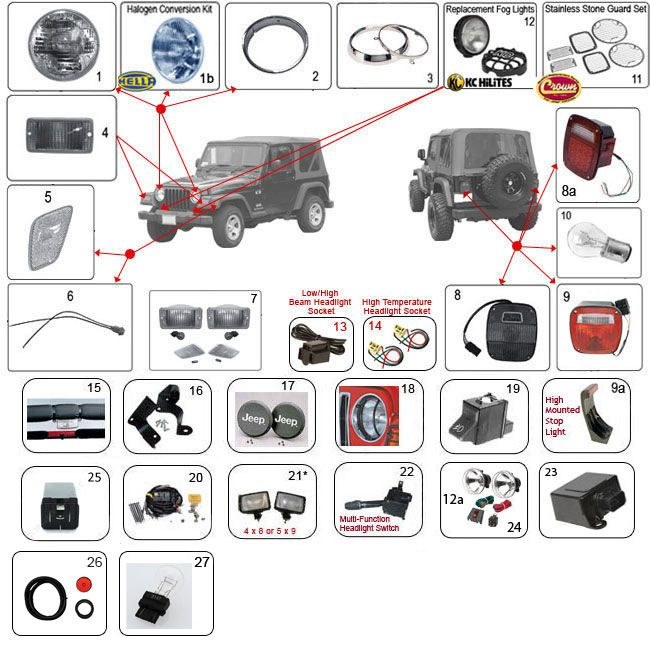lights for wrangler tj jeep tj parts diagrams pinterest jeep rh pinterest com 2000 Jeep TJ Wrangler Engine Diagram 2000 Jeep Wrangler Engine Diagram