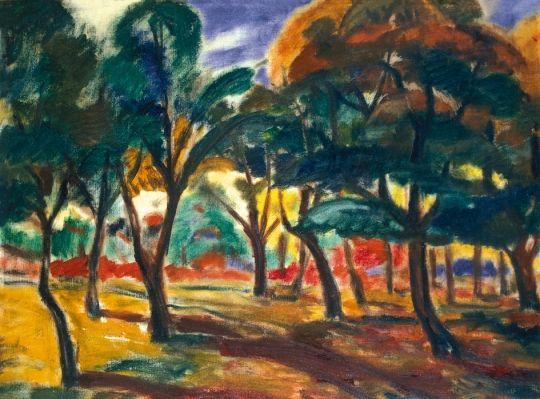 Kernstok Károly (1873-1940) Erdőrészlet, 1910 körül Olaj, vászon, 65,5x88 cm
