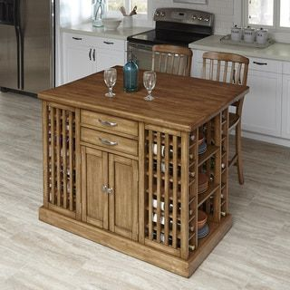 The Vintner Kitchen Island and Two Stools