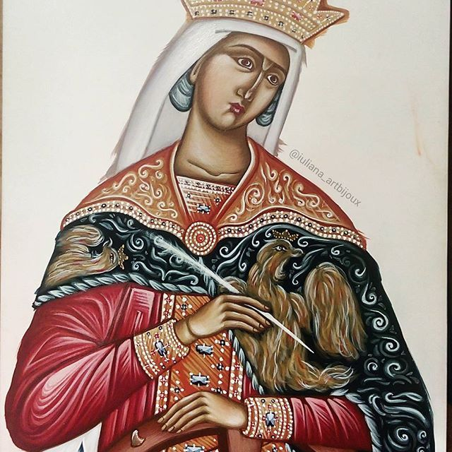 The icon of the Great #martyr#Catherine of #Alexandria, before gilding.  #icon #christian #orthodox #iconography #handpainted #art #orthodoxy #christianity #religious #painting #orthodoxicon #saint #katherine #stcatherine #artistry #Byzantine #byzantineicon