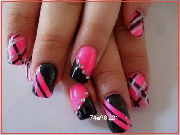 50 Beautiful Pink And Black Nail Designs 2017 In 2020 Pink Nails Black Nail Designs Fashion Nails