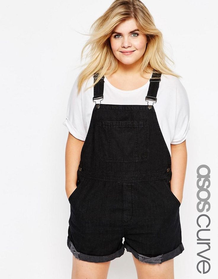 ASOS Curve | ASOS CURVE Denim Overall Shorts in Washed Black at ASOS #curvy