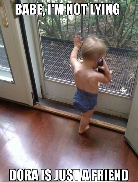 Ahhhhhh his girlfriend left him because he loves Dora .  :(