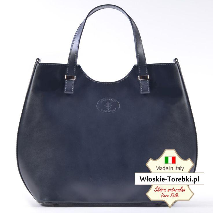 Grafitowa torba ze skóry naturalnej Fulvia - modny odcień ciemnego szarego. Mieści A4, wyjątkowe kształty, duża pojemność, najwyższa jakość skóry