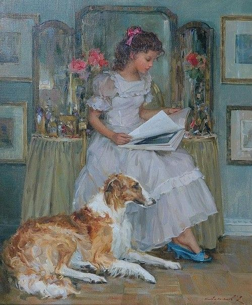 Konstantin Razumov (b. 1974): Young Girl Reading, a Borzoi at her Side.