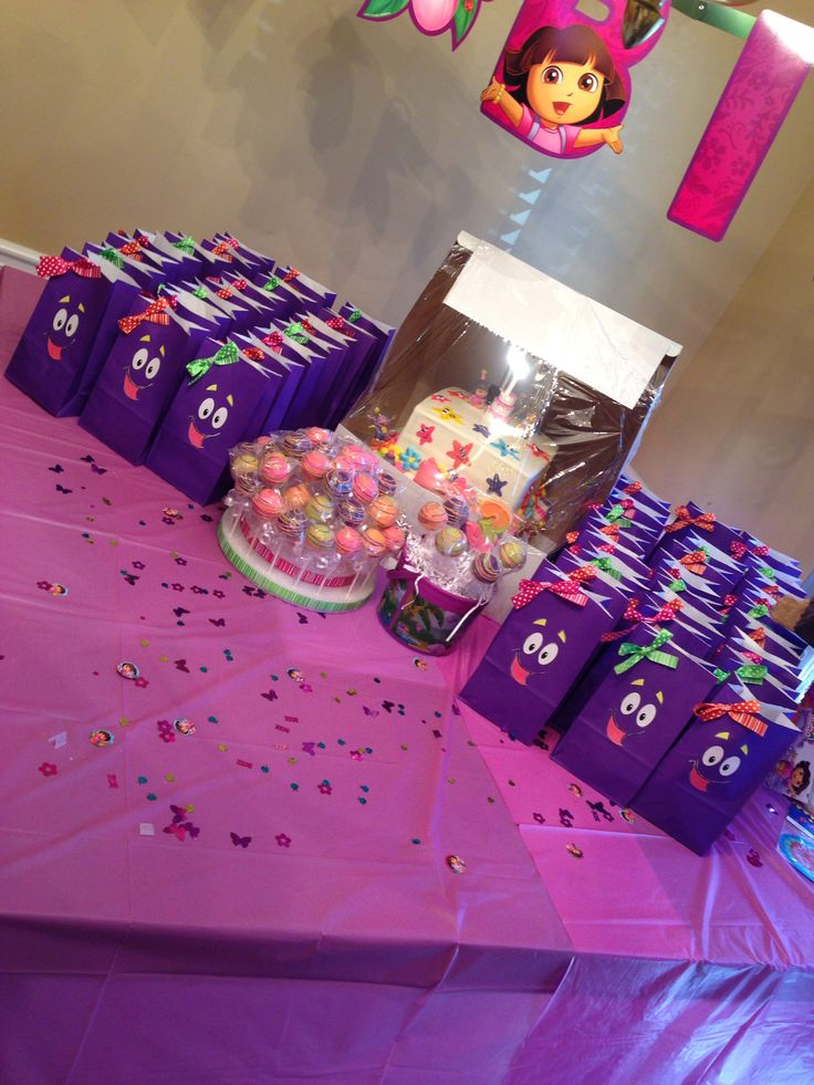 Cake And Candy Bag Table Idea For Dora Birthday Party