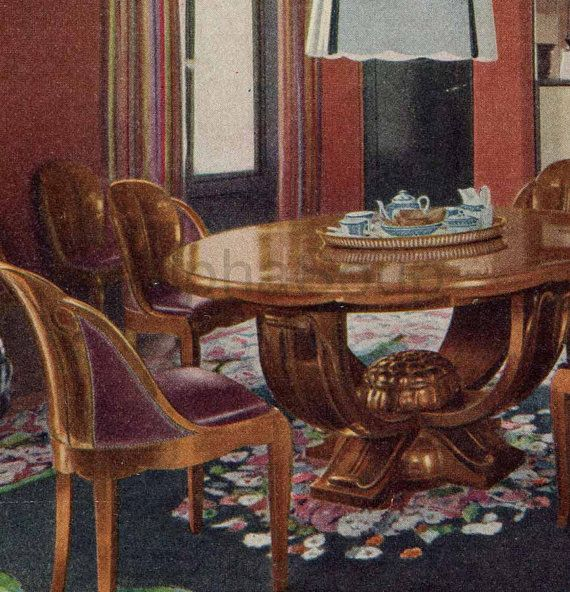 Home Decor French Interiors 1920u0027s Original Antique Color Print 2 Sided  Print