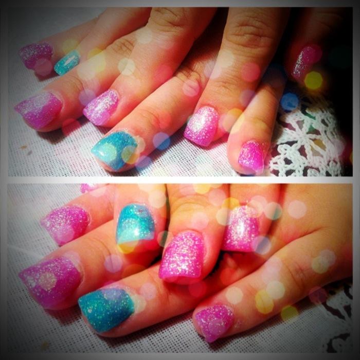Glitter Pink Amp Turquoise Acrylic Nails Nails Pinterest Pink Pink Turquoise And Nails