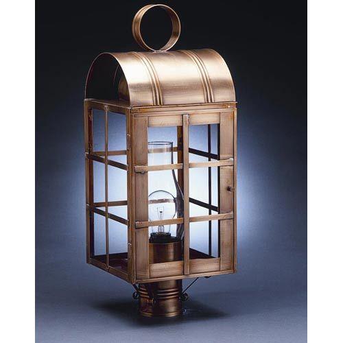Adams Dark Antique Brass One-Light Outdoor Post Light with Clear Glass - (In DAB-Dark Antique Brass)