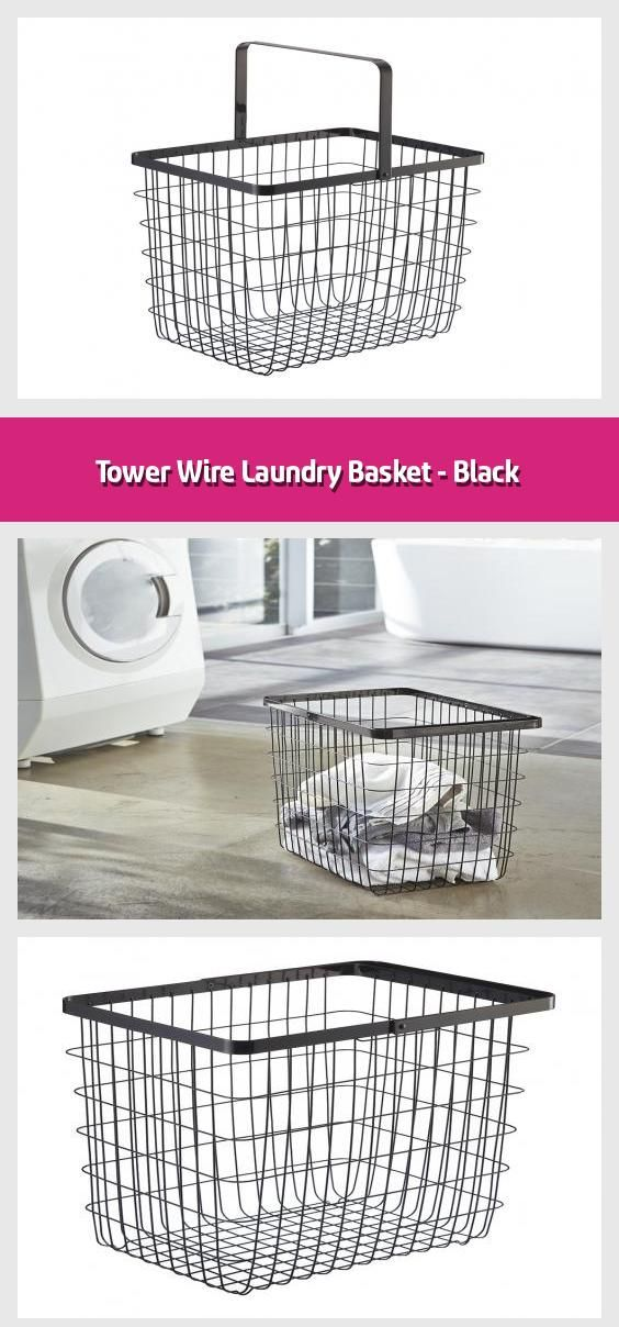 Tower Wire Laundry Basket Black 2020