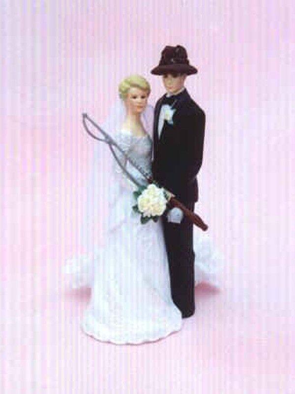 groom bride wedding cake top hook line bait sinker fishing fish rod reel pole boat lures hat worms bass trout
