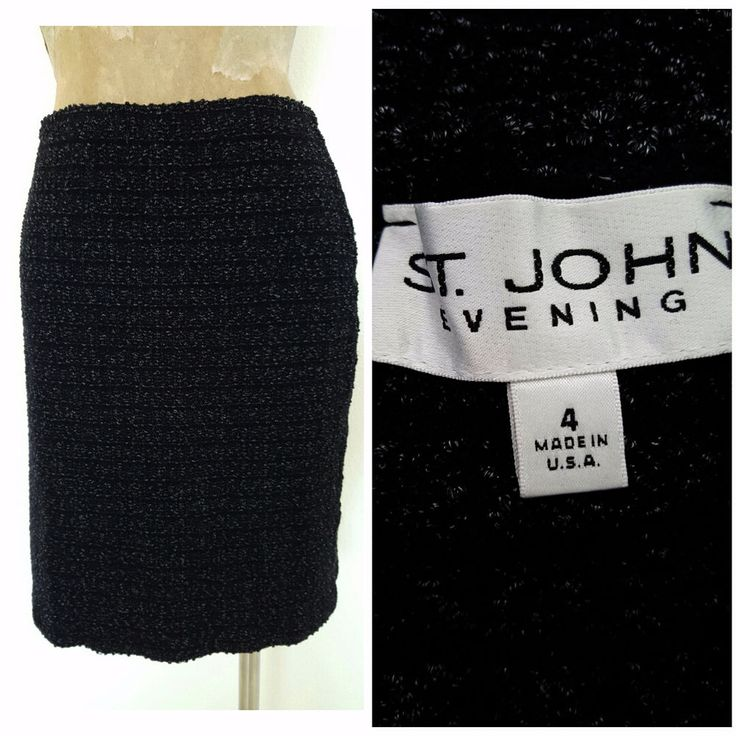 St. John Evening Skirt Size Small 4 Boucle Midnight Blue Mini Bandage Knit  #StJohnEvening #StretchKnit
