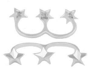 2 Pieces of Ladies Silver Three Stars Adjustable Length Double Finger Ring JOTW. $0.95