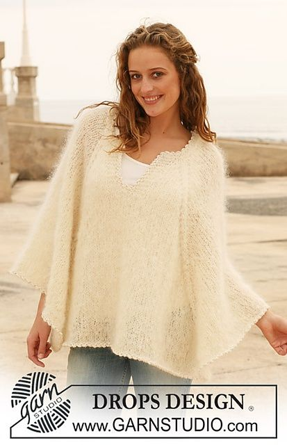"Ravelry: 112-22 Knitted poncho in ""Vienna"" pattern by DROPS design."