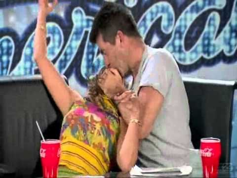 Simon Cowell kisses Paula Abdul in the audition room