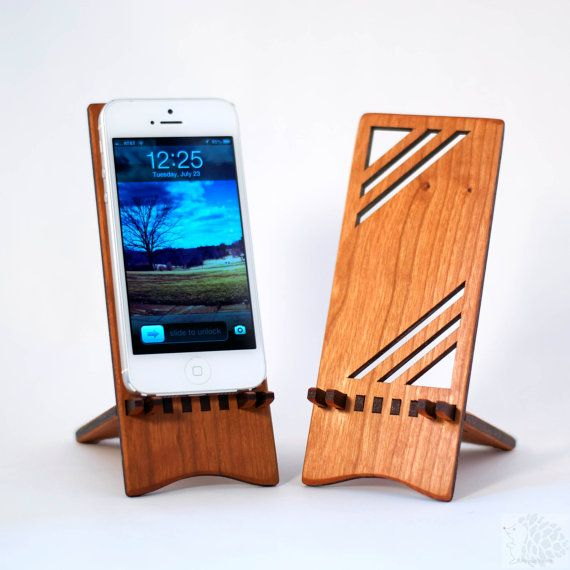 Geometric Wood iPhone Stand by ideasinwood on Etsy