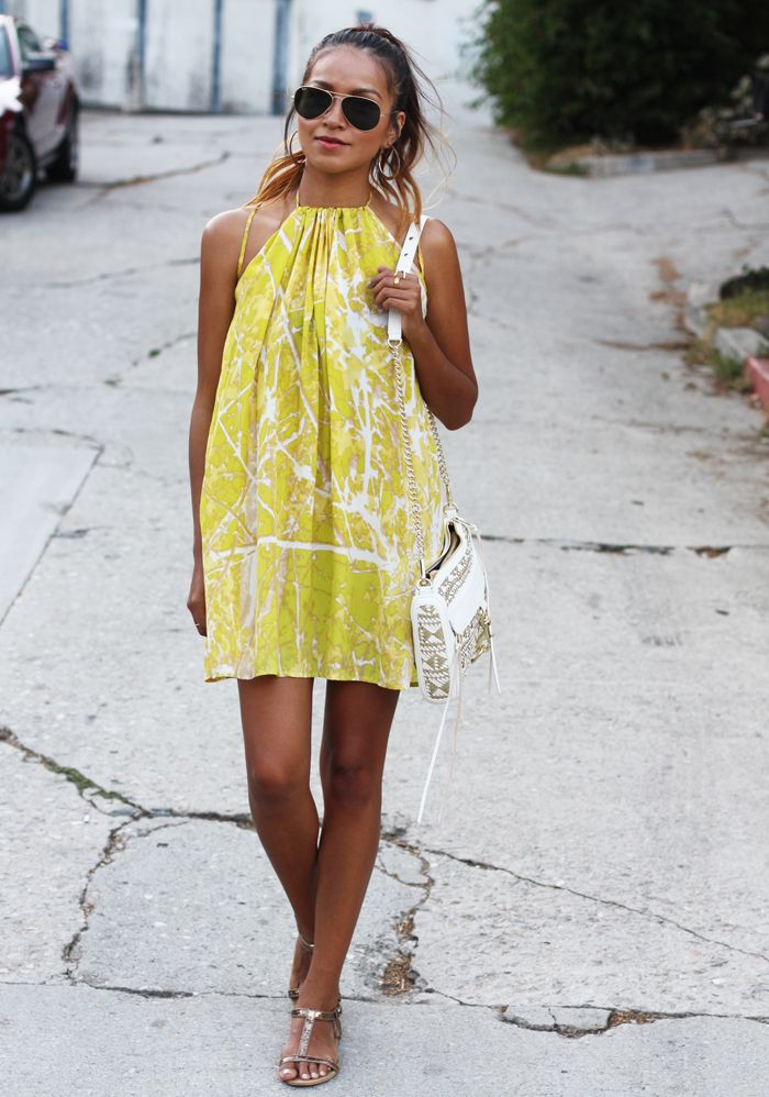 Love this for summer! short yellow dress sunglasses shoulder bag white women clothing outfit fashion style apparel