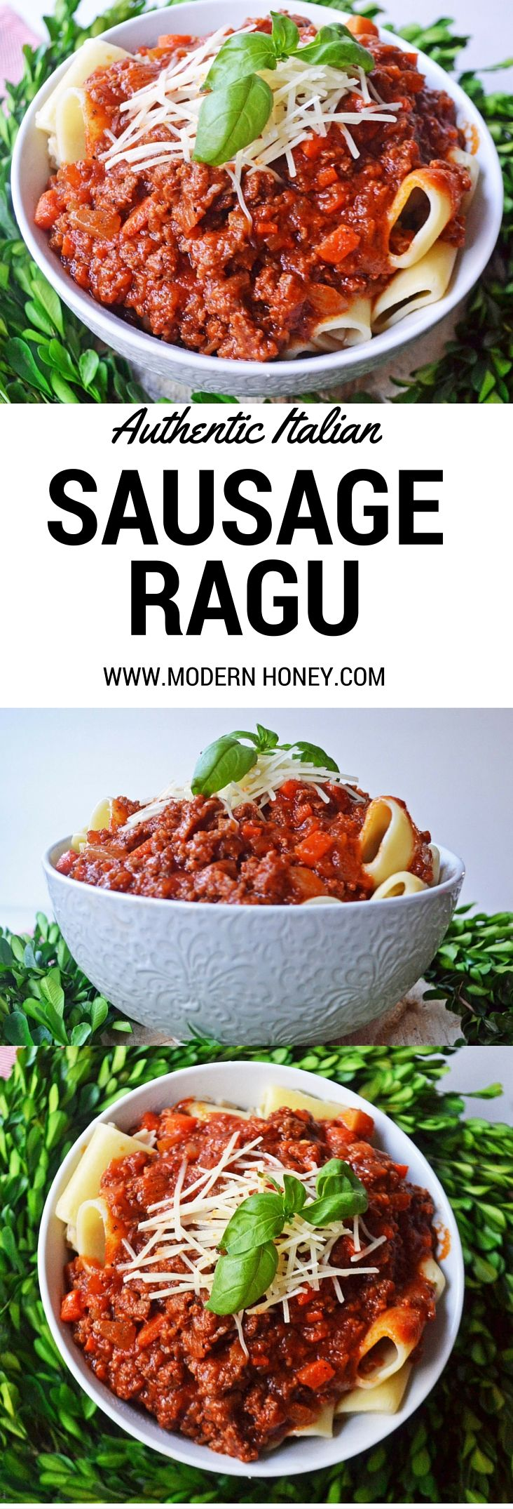 Authentic Italian Sausage Ragu by Modern Honey. This sauce is slowly simmered to perfection.