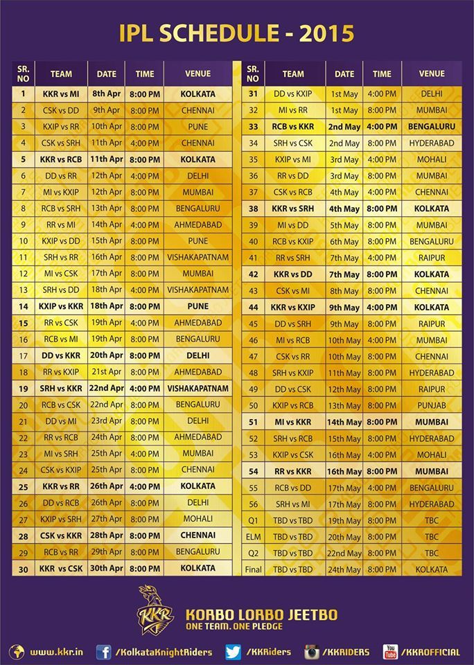 Real Updates Hub: Revised IPL schedule 2015