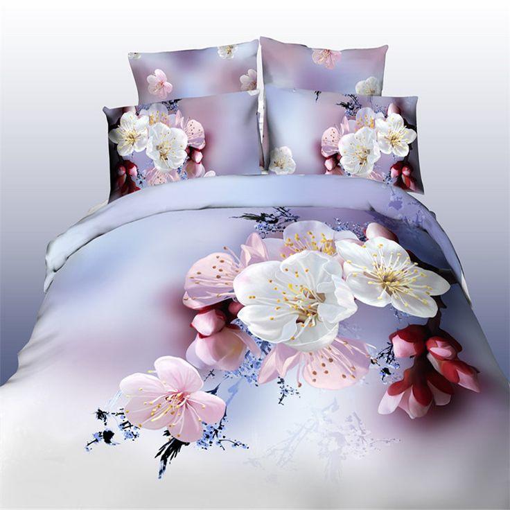 Pas cher 2015 Hot 3D coton ensembles de literie / set de lit / Bed vêtements en lin 4 pcs ( housse de couette + drap plat + 2 taie d'oreiller ) Queen livraison gratuite, Acheter  Ensembles de literie de qualité directement des fournisseurs de Chine:                  Note: pas de plombages dans la housse de couette/taie d'oreiller, pas oreillers, ce n'est pas