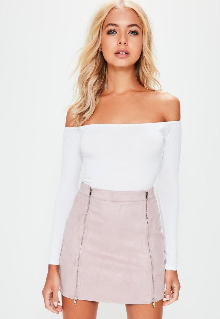 Missguided - Petite Pink Faux Suede Double Zip Mini Skirt