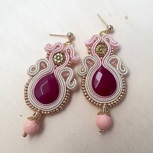 Burgundy pink soutache earrings