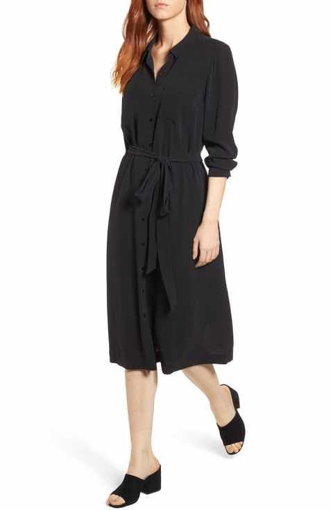 ba821a68a86 Eileen Fisher Silk Georgette Crepe Shirtdress