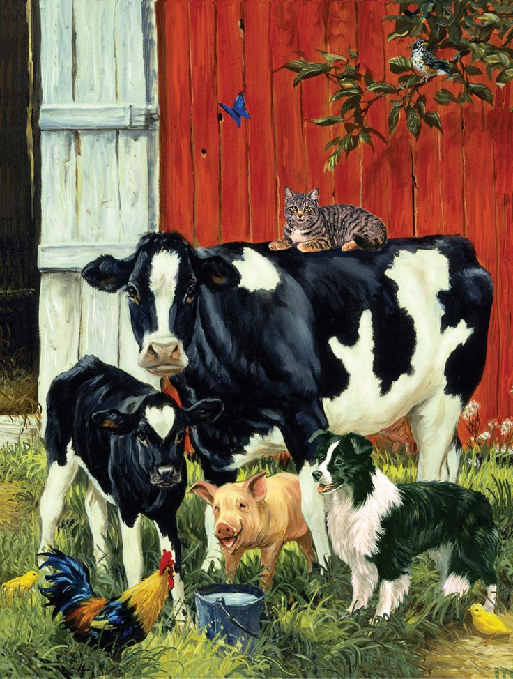 Lunchtime Pals by Linda Picken ~ cow calf pig dog cat rooster farm