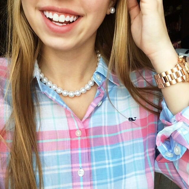 Love the pink, turquoise, and white plaid -- pearls -- ultra prep! Vineyard Vines blouse