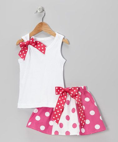 Take a look at this Hot Pink Polka Dot Tank & Skirt - Toddler & Girls by Beary Basics on #zulily today!