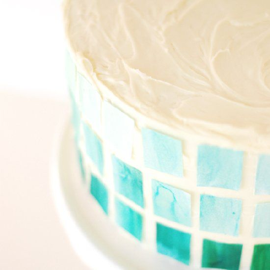 Paint sugar sheets to create this watercolor ombre mosaic cake!