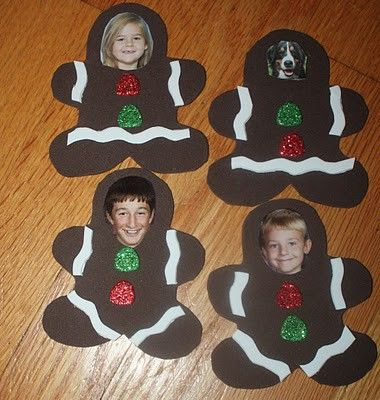 Gingerbread man craft with pictures of the kids