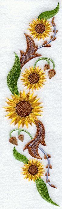 Sunflower Spray (Jacobean) (Lg) design (A8793) from www.Emblibrary.com