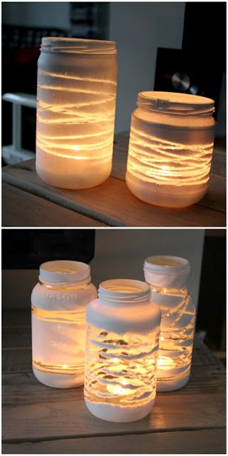 "From ""The Forge Style"" yarn/string wrapped jars, spray painted and yarn unwrapped. Place tealight inside and you're set."