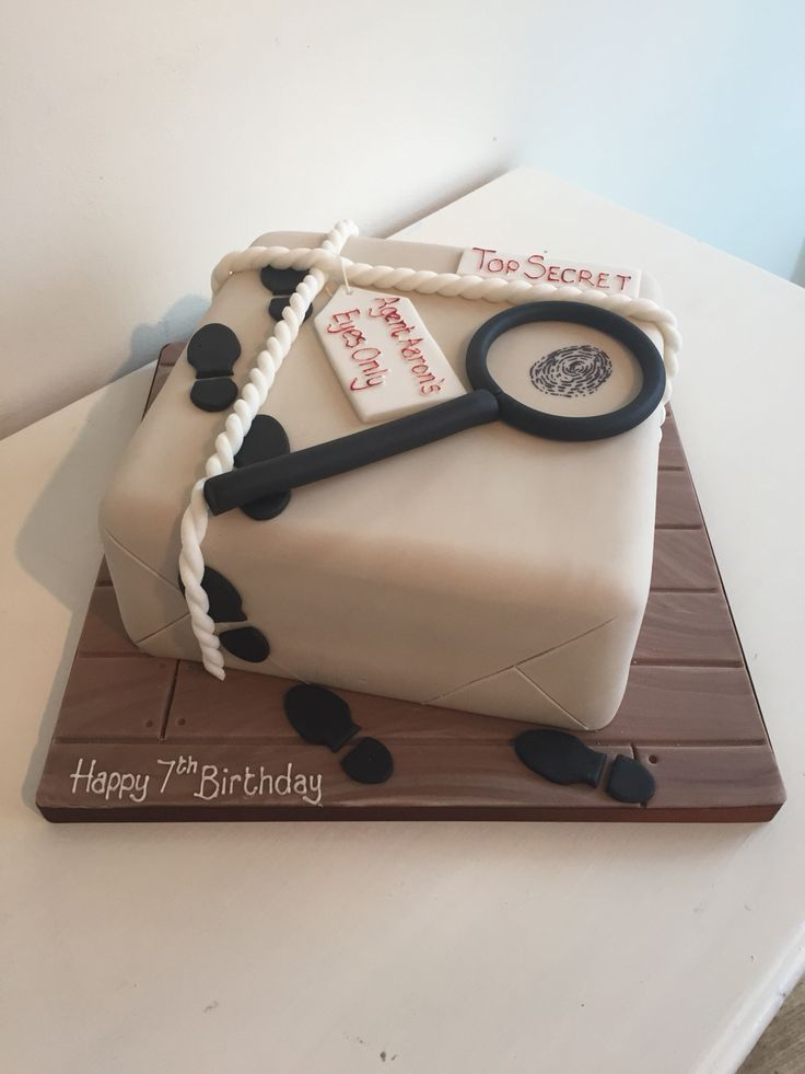 Spy themed birthday cake