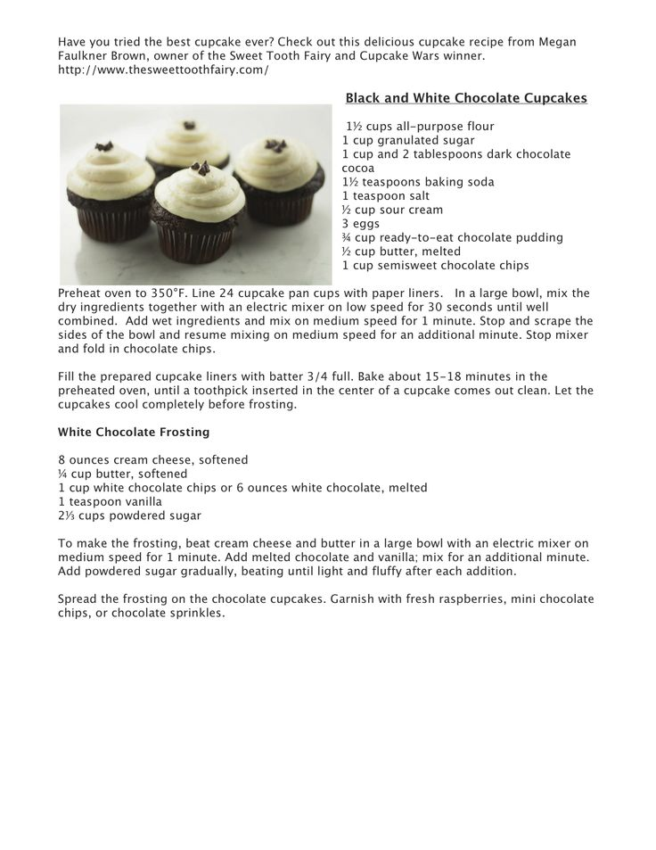 Black  White Chocolate Cupcakes This is a recipe from the \