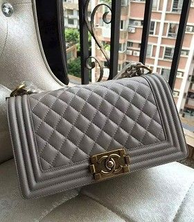9909deaf2a90 Replica Replica Chanel Le Boy 25cm Flap Bag Grey Original Caviar Leather  Golden Chain