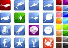 marine life sixteen royalty free icons vector art illustration