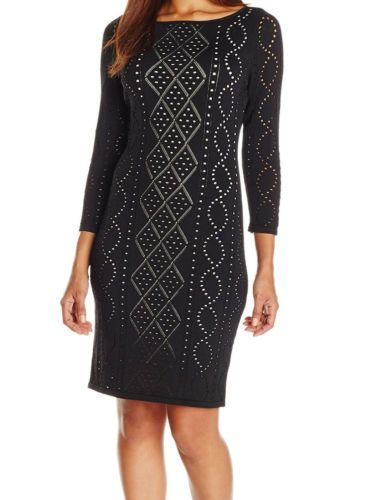 142a0253ee0 Calvin-Klein-Women-039-s-Perforated-Long-Sleeves-Sweater-dress-Black ...