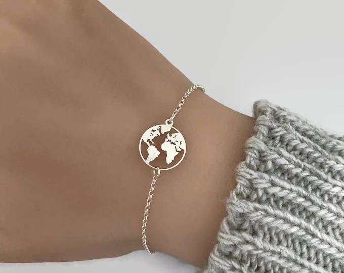 World Bracelet, Travel Bracelet, Map Bracelet, Bracelets For Women, World Jewelry, Silver Bracelet, World Map Bracelet, Dainty Bracelet