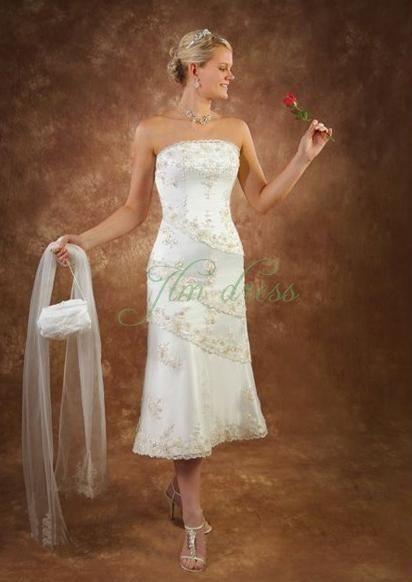 custom-made-strapless-elegant-ivory-taffeta-beading-tea-length-a-line-lace-up-wedding-dresses-for-brides-reception-dresses-twd993013620300680.jpg (412×582)