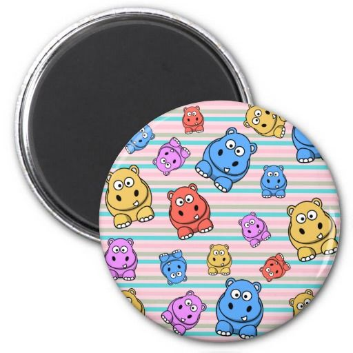 Cute Colorful Baby Hippos - Circle Magnet #GifsWithPatterns #Baby #Magnet #Fridge