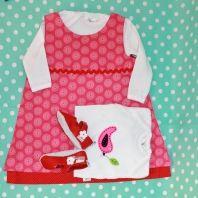 Baby shower Gift set - Pink shweshwe dress, babygro with felt bird and red leather shoes