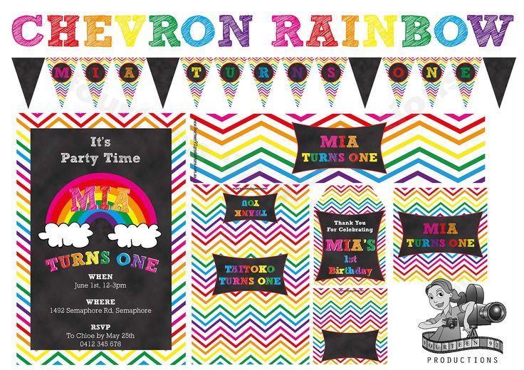 Chevron Rainbow Birthday Decorations by fourteen92prod on Etsy https://www.etsy.com/au/listing/466455249/chevron-rainbow-birthday-decorations