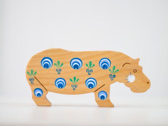 Ippopotamo in legno giocattolo legno arredamento animali Ooak unico giocare camera arredamento africano animale Home Decor in legno Vintage arte Africa